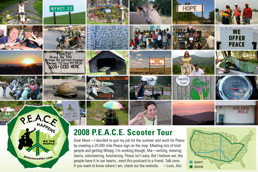 2008 P.E.A.C.E Scooter Post Card